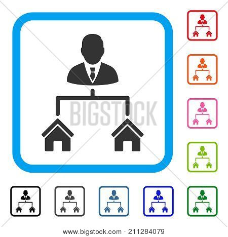 Realty Manager icon. Flat gray pictogram symbol inside a blue rounded square. Black, gray, green, blue, red, orange color additional versions of Realty Manager vector.