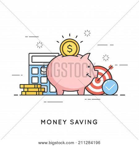 Money saving, deposit investment, budget management, economy. Flat line art style concept. Vector banner, icon, illustration Editable stroke