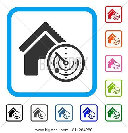 Realty Radar icon. Flat grey pictogram symbol inside a blue rounded frame. Black, gray, green, blue, red, orange color versions of Realty Radar vector. Designed for web and application user interface.