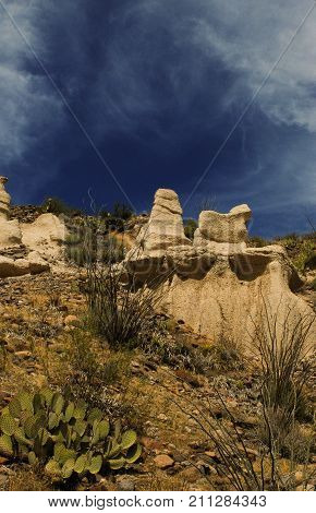 View of igneous rock formations from the River Road (RM 170) next to the Rio Grande River.