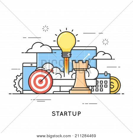 Startup, business project launch, new ideas. Flat line art style concept. Vector banner, icon, illustration. Editable stroke