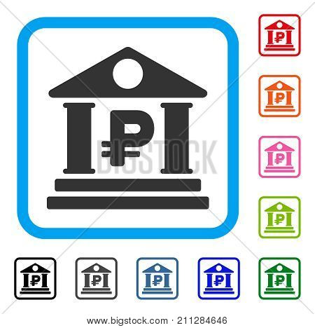 Rouble Bank Building icon. Flat gray iconic symbol in a blue rounded square. Black, gray, green, blue, red, orange color variants of Rouble Bank Building vector. Designed for web and software UI.