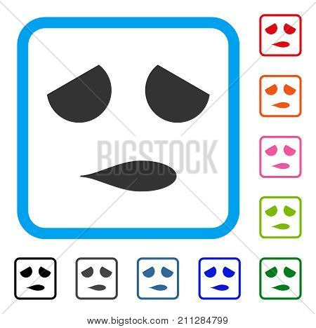 Sad Emoticon Smile icon. Flat gray iconic symbol in a blue rounded square. Black, gray, green, blue, red, orange color versions of Sad Emoticon Smile vector.