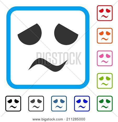 Sad Worried Smile icon. Flat gray iconic symbol in a blue rounded square. Black, gray, green, blue, red, orange color additional versions of Sad Worried Smile vector. Designed for web and app UI.