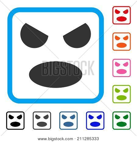 Scream Smile icon. Flat grey iconic symbol inside a blue rounded square. Black, gray, green, blue, red, orange color variants of Scream Smile vector. Designed for web and application interfaces.