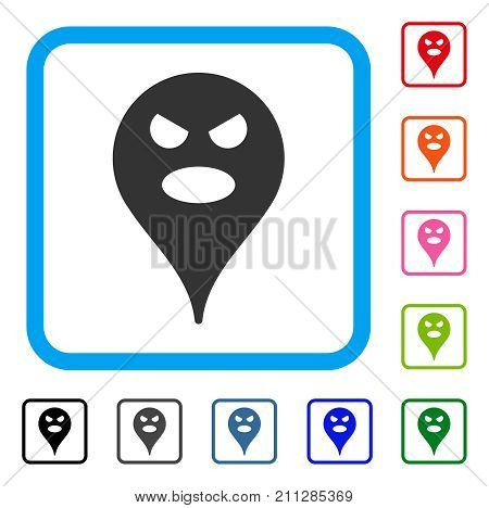 Scream Smiley Map Marker icon. Flat grey iconic symbol inside a blue rounded squared frame. Black, gray, green, blue, red, orange color versions of Scream Smiley Map Marker vector.