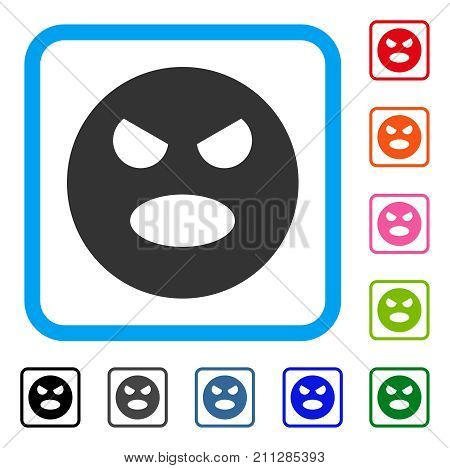 Scream Smiley icon. Flat gray iconic symbol in a blue rounded frame. Black, gray, green, blue, red, orange color additional versions of Scream Smiley vector.