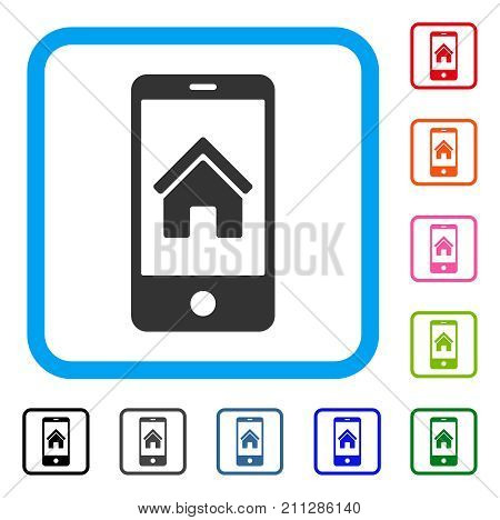 Smartphone Homepage icon. Flat grey pictogram symbol in a blue rounded square. Black, gray, green, blue, red, orange color variants of Smartphone Homepage vector. Designed for web and app interfaces.
