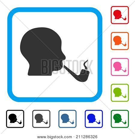 Smoking Detective icon. Flat grey pictogram symbol in a blue rounded square. Black, gray, green, blue, red, orange color variants of Smoking Detective vector.