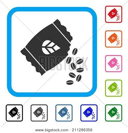 Sow Seed Pack icon. Flat grey iconic symbol in a blue rounded frame. Black, gray, green, blue, red, orange color variants of Sow Seed Pack vector. Designed for web and application user interface.