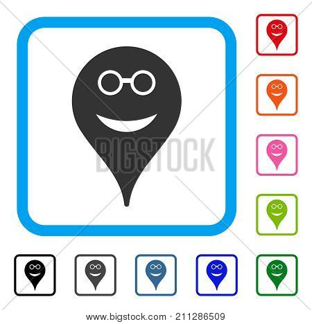 Spectacles Smiley Map Marker icon. Flat gray iconic symbol in a blue rounded square. Black, gray, green, blue, red, orange color variants of Spectacles Smiley Map Marker vector.