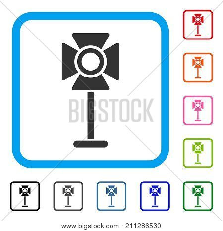 Spotlight Rack icon. Flat grey iconic symbol inside a blue rounded squared frame. Black, gray, green, blue, red, orange color additional versions of Spotlight Rack vector.