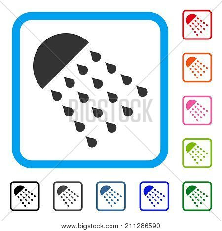 Spray Stream icon. Flat grey iconic symbol inside a blue rounded rectangular frame. Black, gray, green, blue, red, orange color versions of Spray Stream vector.