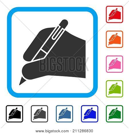 Subscribe Hand icon. Flat gray pictogram symbol in a blue rounded frame. Black, gray, green, blue, red, orange color versions of Subscribe Hand vector. Designed for web and application user interface.