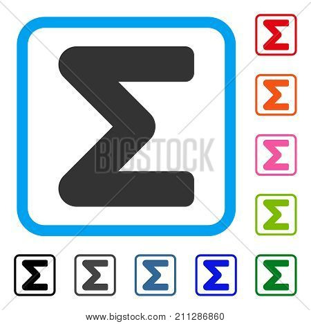 Sum icon. Flat grey pictogram symbol in a blue rounded squared frame. Black, gray, green, blue, red, orange color additional versions of Sum vector. Designed for web and app interfaces.