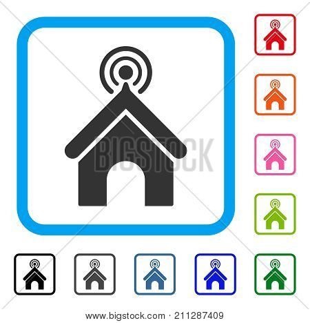 Telecom Office icon. Flat gray pictogram symbol in a blue rounded rectangular frame. Black, gray, green, blue, red, orange color additional versions of Telecom Office vector.