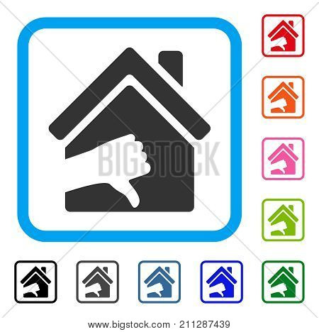 Terrible House icon. Flat grey pictogram symbol in a blue rounded rectangle. Black, gray, green, blue, red, orange color versions of Terrible House vector. Designed for web and app user interface.