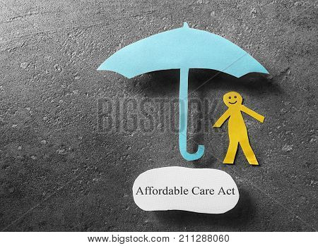 Happy paper person under an Affordable Care Act coverage umbrella