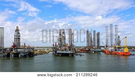 October, 2017. Galveston, Texas, Golf of Mexico. Oil rig drilling platform