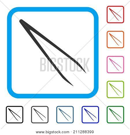 Tweezers icon. Flat grey pictogram symbol in a blue rounded frame. Black, gray, green, blue, red, orange color additional versions of Tweezers vector. Designed for web and app UI.