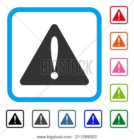 Warning Error icon. Flat grey iconic symbol inside a blue rounded rectangular frame. Black, gray, green, blue, red, orange color versions of Warning Error vector. Designed for web and application UI.