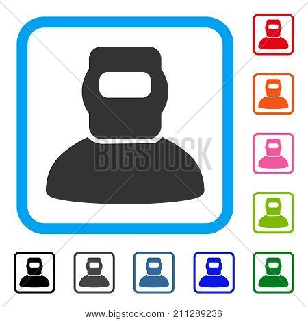 Welder icon. Flat grey iconic symbol inside a blue rounded squared frame. Black, gray, green, blue, red, orange color variants of Welder vector. Designed for web and app interfaces.