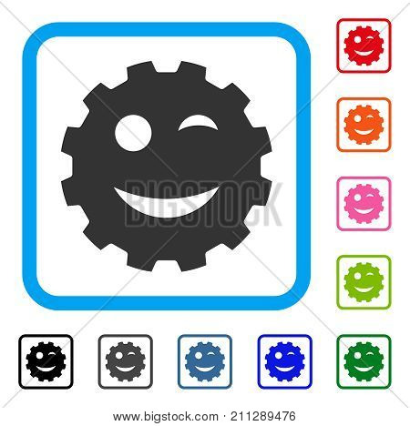 Wink Smiley Gear icon. Flat gray pictogram symbol in a blue rounded squared frame. Black, gray, green, blue, red, orange color variants of Wink Smiley Gear vector. Designed for web and app UI.