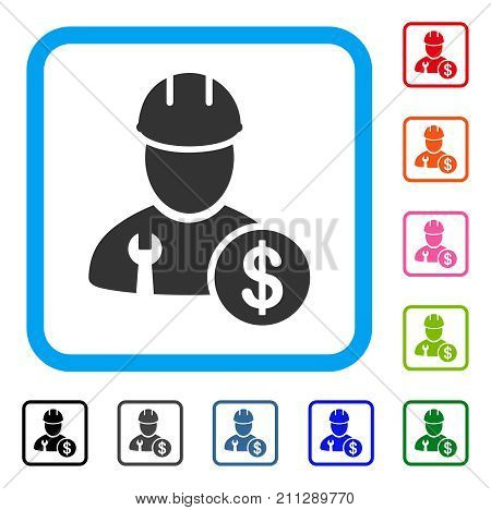 Worker Salary icon. Flat gray iconic symbol in a blue rounded rectangular frame. Black, gray, green, blue, red, orange color variants of Worker Salary vector. Designed for web and app user interface.