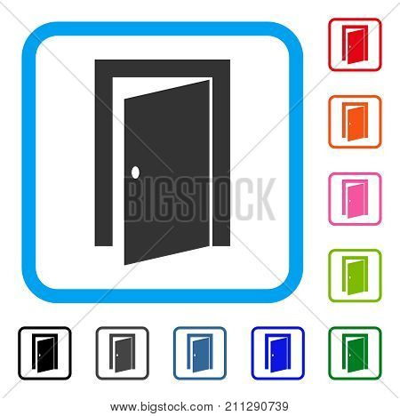 Door icon. Flat grey iconic symbol in a blue rounded squared frame. Black, gray, green, blue, red, orange color variants of Door vector. Designed for web and software interfaces.