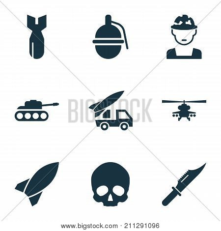 Combat Icons Set. Collection Of Cranium, Bombshell, Panzer And Other Elements