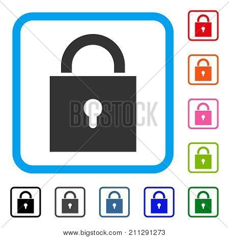 Lock icon. Flat grey iconic symbol inside a blue rounded square. Black, gray, green, blue, red, orange color variants of Lock vector. Designed for web and app user interface.