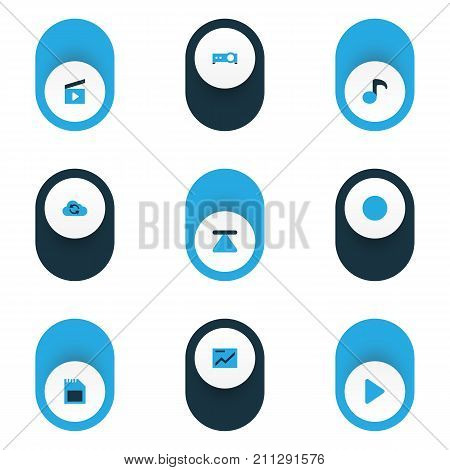 Media Colorful Icons Set. Collection Of Memory, Quaver, Begin And Other Elements