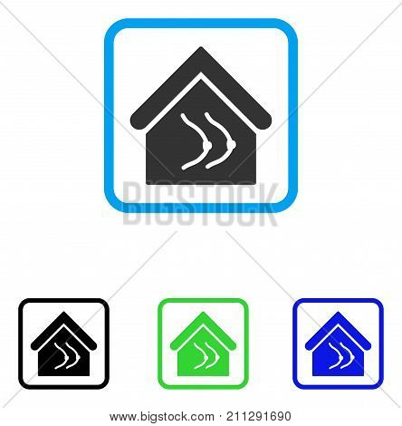 Erotics House icon. Flat gray pictogram symbol inside a blue rounded square. Black, green, blue color versions of Erotics House vector. Designed for web and application user interface.