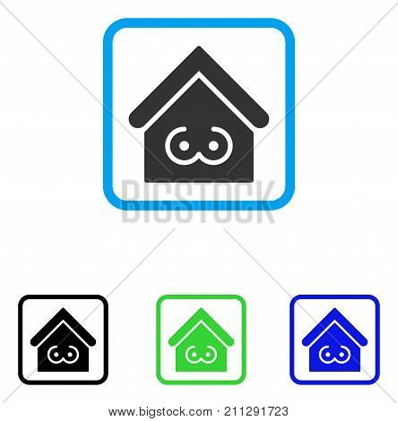 Strip Bar icon. Flat grey iconic symbol in a blue rounded rectangular frame. Black, green, blue color variants of Strip Bar vector. Designed for web and app user interface.