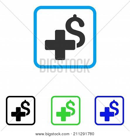 Add Dollar icon. Flat gray iconic symbol in a blue rounded rectangle. Black, green, blue color additional versions of Add Dollar vector. Designed for web and application user interface.