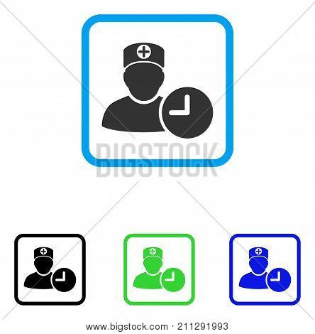 Doctor Appointment Clock icon. Flat gray iconic symbol inside a blue rounded rectangular frame. Black, green, blue color additional versions of Doctor Appointment Clock vector.