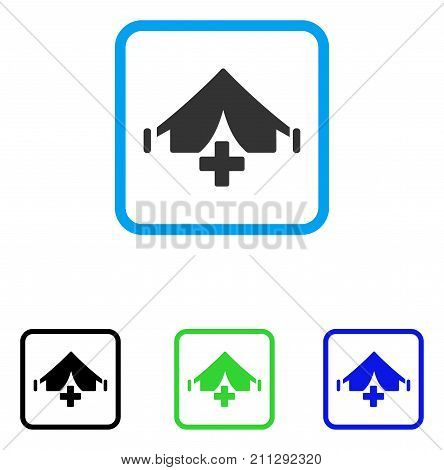 Field Hospital icon. Flat grey pictogram symbol in a blue rounded square. Black, green, blue color additional versions of Field Hospital vector. Designed for web and application user interface.
