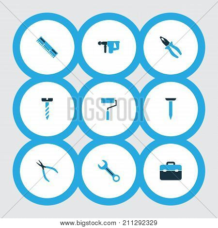 Handtools Colorful Icons Set. Collection Of Ruler, Bolt, Hammer And Other Elements