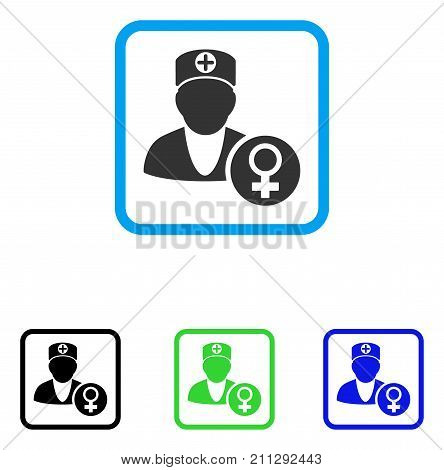 Gynecology Doctor icon. Flat grey pictogram symbol inside a blue rounded rectangle. Black, green, blue color versions of Gynecology Doctor vector. Designed for web and application interfaces.
