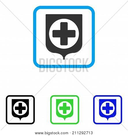Medical Cross Shield icon. Flat gray iconic symbol inside a blue rounded frame. Black, green, blue color additional versions of Medical Cross Shield vector.