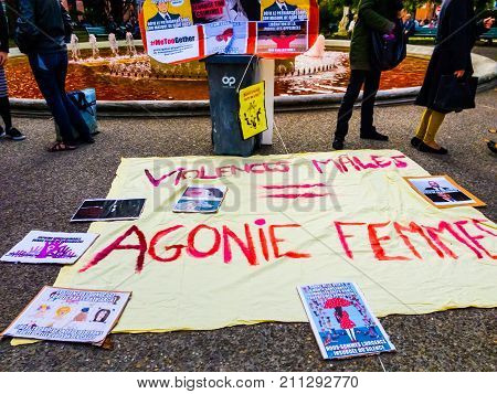 TOULOUSE,FRANCE - OCTOBER 29,2017: The demonstrators in the street to denounce sexual harassment.Inscription in French: Male violence = women agony.