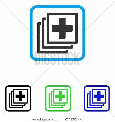 Medical Items icon. Flat grey iconic symbol in a blue rounded rectangle. Black, green, blue color variants of Medical Items vector. Designed for web and software interfaces.