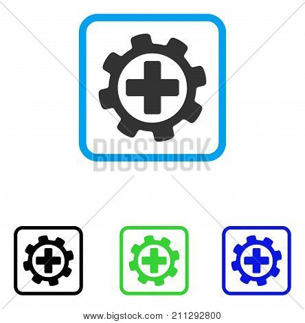 Medical Settings icon. Flat grey iconic symbol in a blue rounded rectangle. Black, green, blue color versions of Medical Settings vector. Designed for web and application UI.