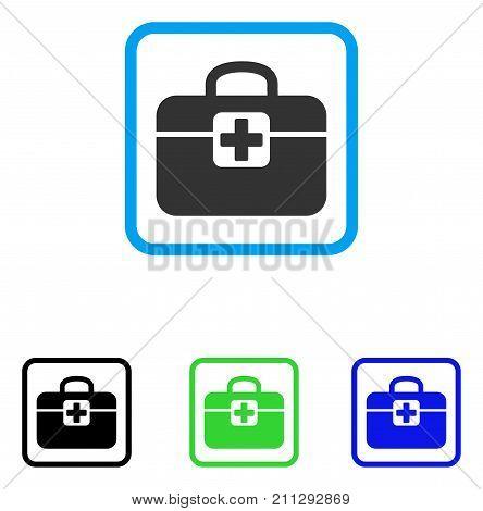 Medkit icon. Flat grey iconic symbol inside a blue rounded frame. Black, green, blue color variants of Medkit vector. Designed for web and application UI.