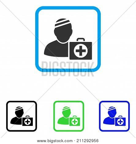Patient First Aid Case icon. Flat gray iconic symbol inside a blue rounded squared frame. Black, green, blue color versions of Patient First Aid Case vector. Designed for web and app UI.