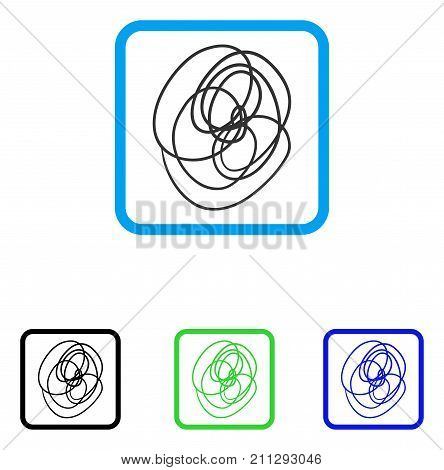 Scribble icon. Flat gray pictogram symbol inside a blue rounded square. Black, green, blue color versions of Scribble vector. Designed for web and software interfaces.