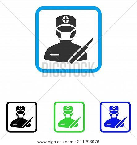 Surgeon icon. Flat grey pictogram symbol in a blue rounded frame. Black, green, blue color versions of Surgeon vector. Designed for web and software user interface.