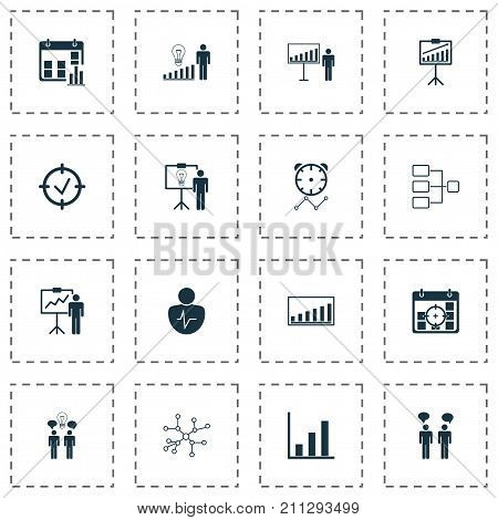 Executive Icons Set. Collection Of Presentation Date, Special Demonstration, Report Demonstration And Other Elements