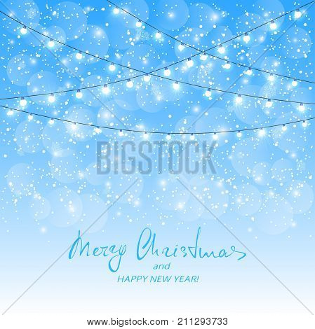 Holiday decorations on blue snowy background. Text Merry Christmas and Happy New Year with white Christmas lights, illustration.