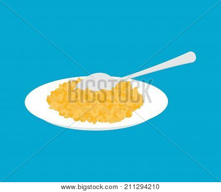 Bulgur Porridge In Plate And Spoon Isolated. Healthy Food For Breakfast. Vector Illustration